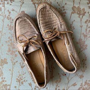 Sperry gold bronze metallic snakeskin boat shoe